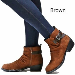 New Brown Vegan Suede Western Ankle Boots Booties